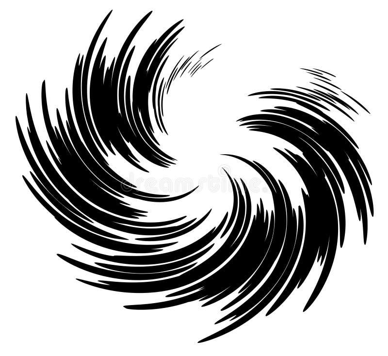 Wispy Strudel-Spirale-Schwarz-Tinte stock abbildung