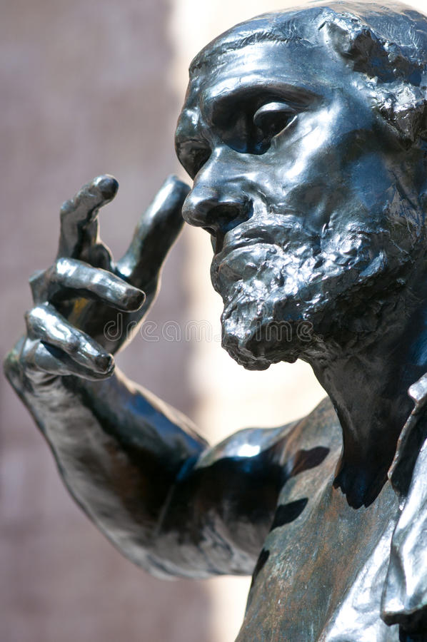 wissant air de jaques开放rodin的雕象 免版税库存图片