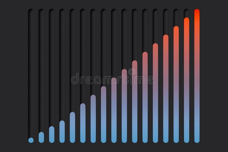 Wisselknoppen in de vorm van grafisch op donkere achtergrond het 3d teruggeven vector illustratie
