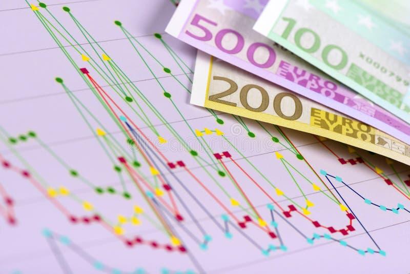 Wisselmarkt met Euro bankbiljetten en grafiek royalty-vrije stock fotografie