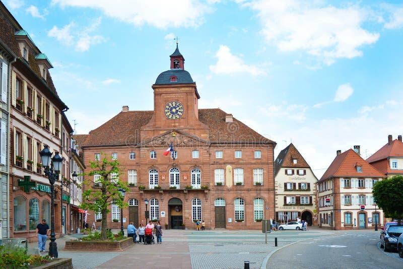 Wissembourg, Γαλλία - μπαρόκ Δημαρχείο ψαμμίτη Wissembourg στοκ εικόνες