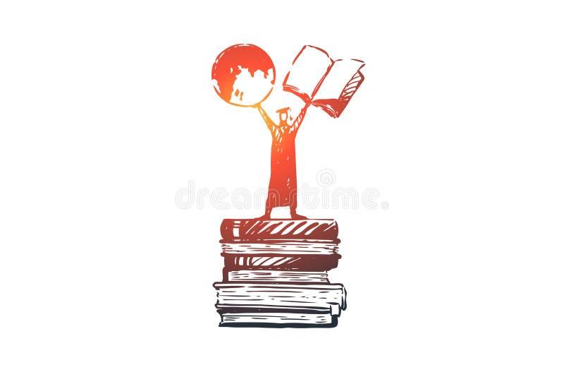 Wissen, Energie, Bücher, Student, Lernkonzept Hand gezeichneter lokalisierter Vektor lizenzfreie abbildung