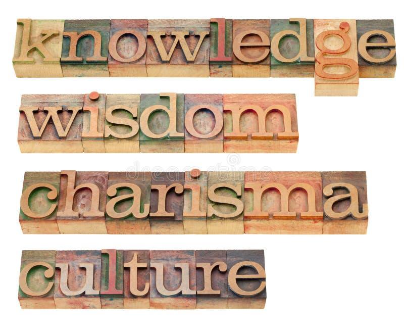 Wissen, Klugheit, Charisma und Kultur lizenzfreie stockbilder