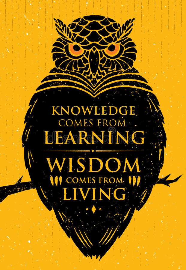 Wissen kommt vom Lernen Klugheit kommt vom Leben Anspornendes kreatives Motivations-Zitat Owl Vector Banner stock abbildung