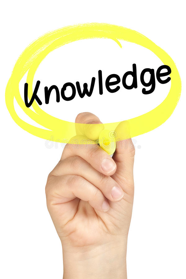 Wissens-Handkreis-Leuchtmarker-Gelb lokalisiert lizenzfreie stockbilder
