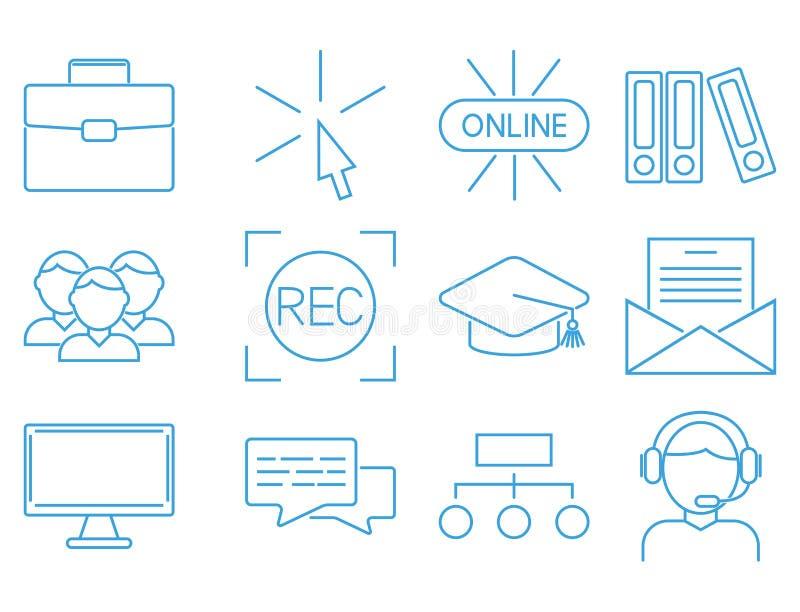 WISSENS-Vektorillustration des flachen Entwurfsikonenon-line-Bildungs-Ausbildung- des Personalsbuchladens entfernte Lernen vektor abbildung