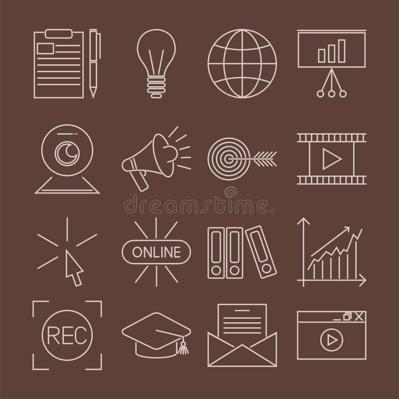 WISSENS-Vektorillustration des flachen Entwurfsikonenon-line-Bildungs-Ausbildung- des Personalsbuchladens entfernte Lernen stock abbildung