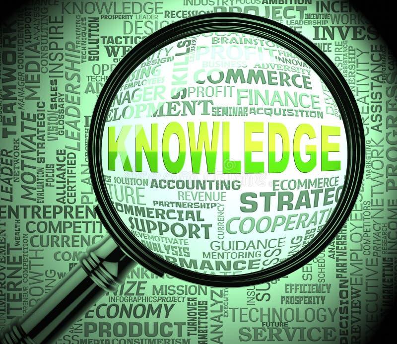 Wissens-Vergrößerungsglas zeigt das Suchen Wiedergabe von der Klugheits-3d an stock abbildung