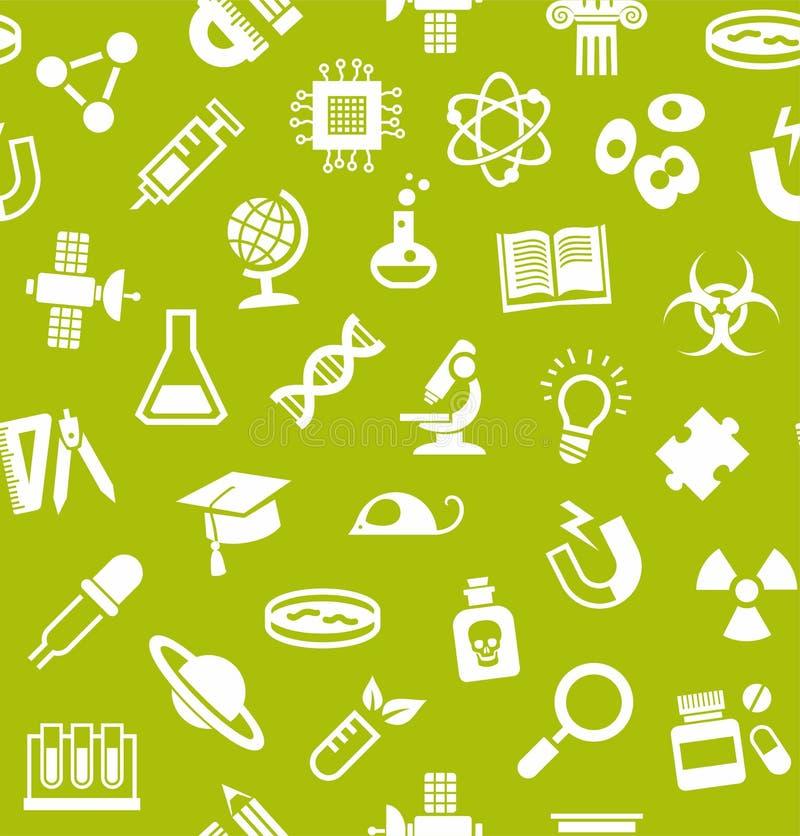 Wissenschaft, Hintergrund, nahtlos, hellgrün, Vektor stock abbildung