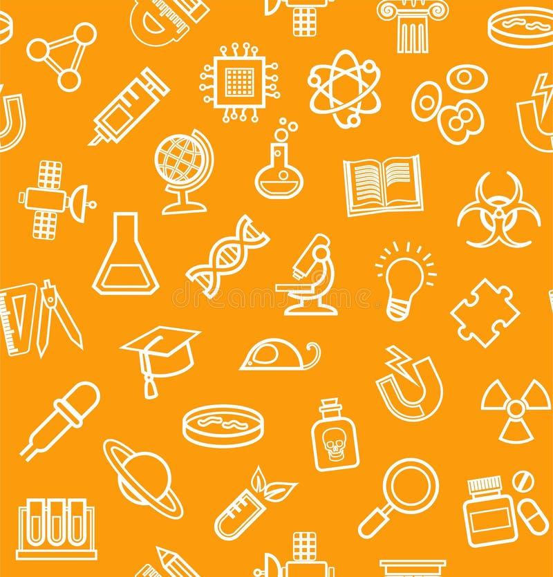 Wissenschaft, orange Hintergrund, Entwurfsikonen, Monochrom, nahtlos, Vektor vektor abbildung