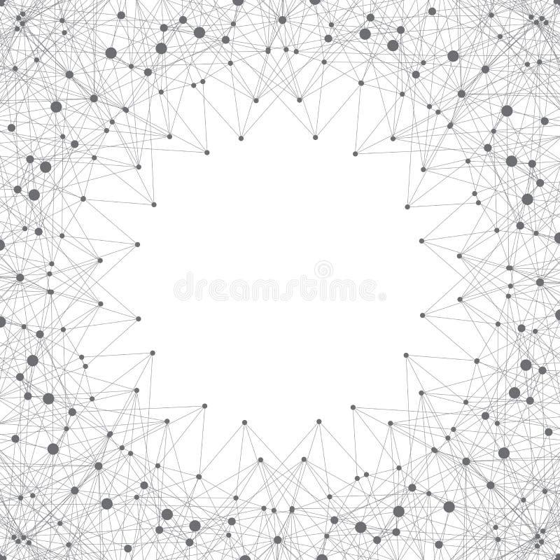 Wissenschaft und Technik-Hintergrundkommunikation Verbundene Linien mit Punkten Moderne Abbildung stockbilder