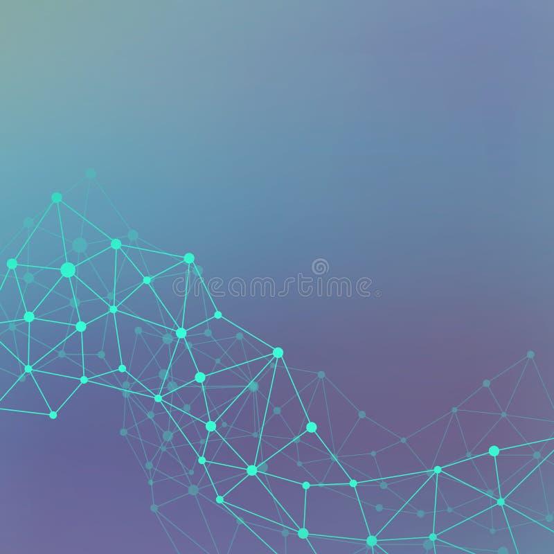 Wissenschaft und Technik-Hintergrundkommunikation Verbundene Linien mit Punkten Moderne Abbildung lizenzfreies stockfoto