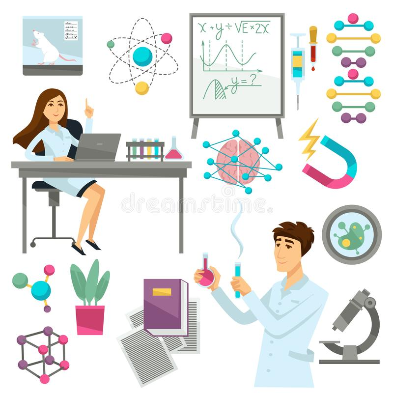 Wissenschaft und Wissenschaftler in der Biologie, Genetik oder Physik und Chemie vector Ikonen stock abbildung