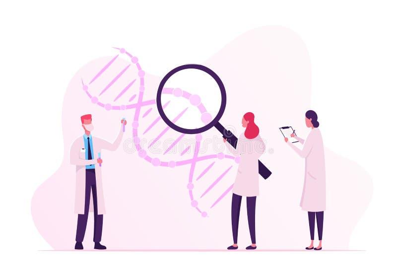 Wissenschaftler arbeiten mit DNA zusammen und schauen durch riesiges Glass und Making Notes Arzt mit Flasendosierungs-Laboratoriu lizenzfreie abbildung