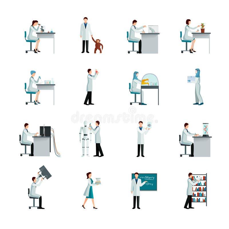 Wissenschaftler Decorative Icons Set stock abbildung