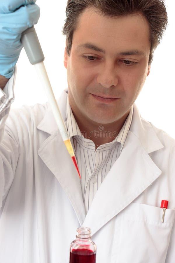 Wissenschaftler, der im Labor arbeitet stockbild