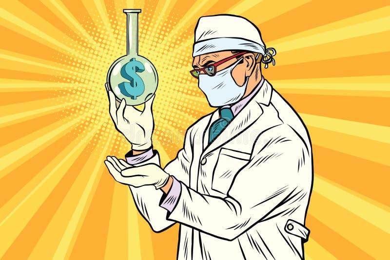 Wissenschaftler in der Maske analysiert die Wirtschaft vektor abbildung