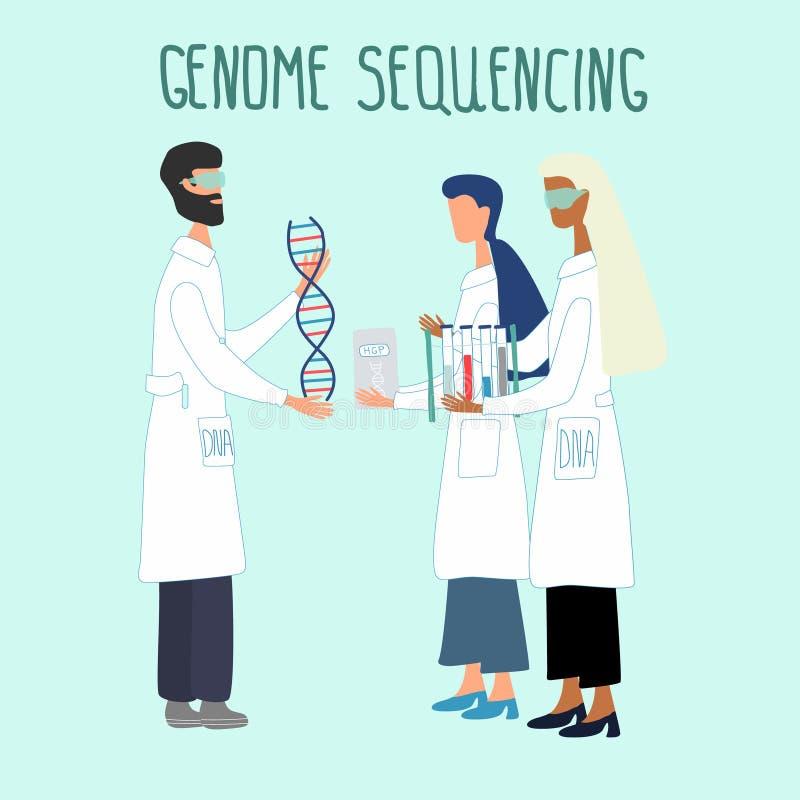 Wissenschaftler erforschen DNA-Struktur im Rahmen des Humangenomprojekts vektor abbildung