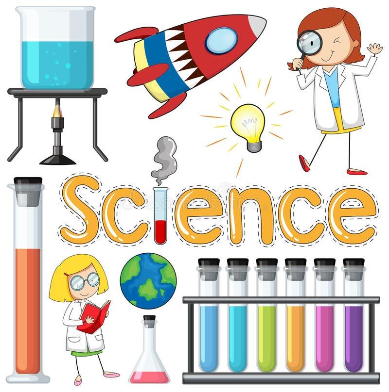 Wissenschaftler und Ausrüstungs-Element auf weißem Backround stock abbildung