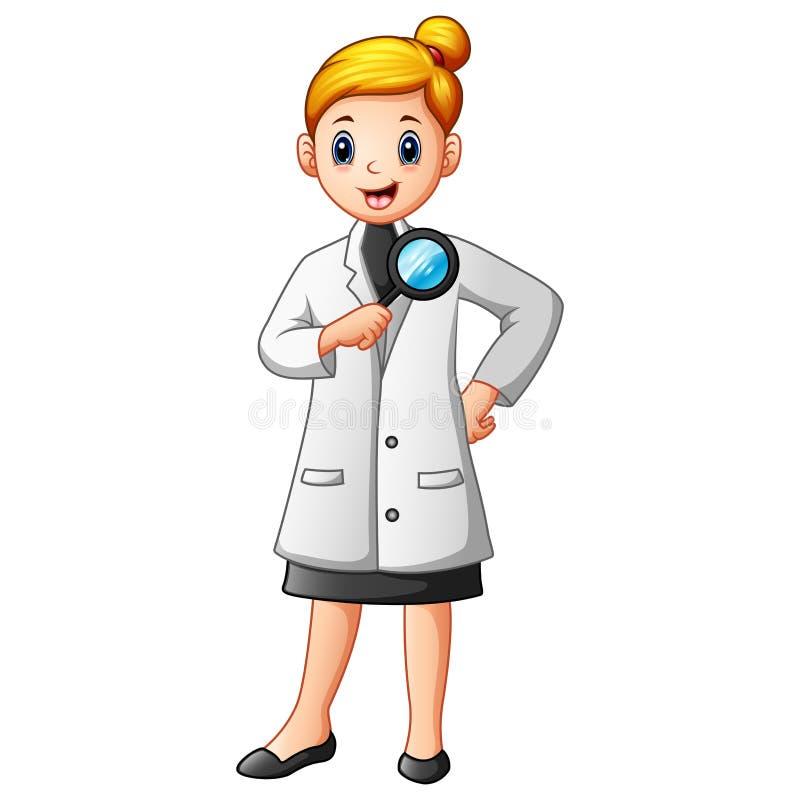 Wissenschaftlerfrau in den Laborkitteln, die eine Lupe halten stock abbildung