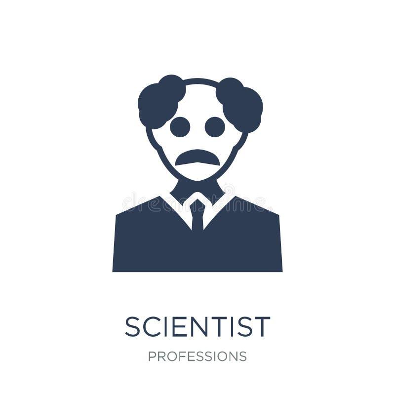 Wissenschaftlerikone Modische flache Vektor Wissenschaftlerikone auf weißem backg lizenzfreie abbildung