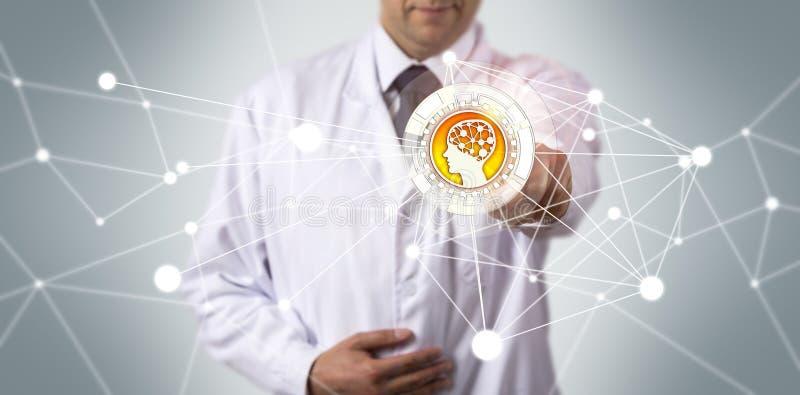 Wissenschaftliche Anwendung Forscher-Initiating AI lizenzfreie stockbilder