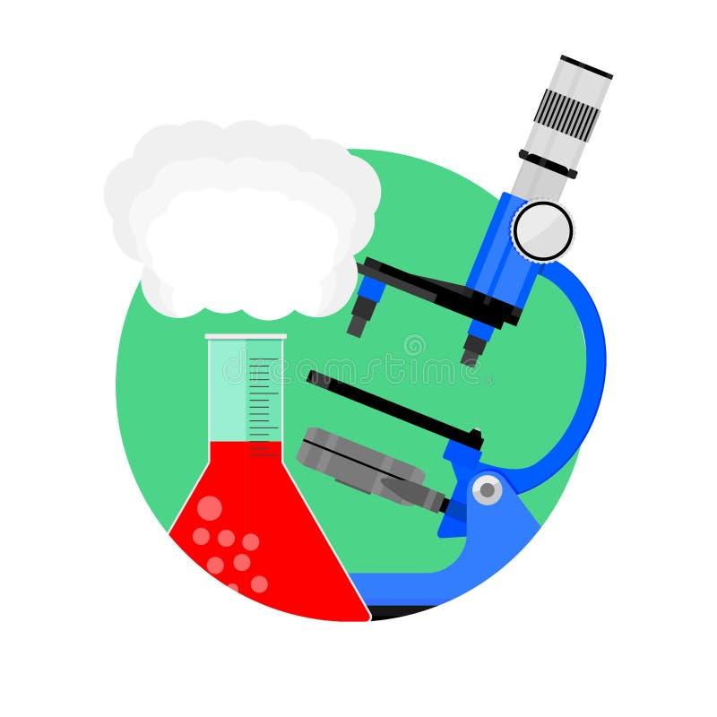 Wissenschaftliche Experimentikone lizenzfreie abbildung