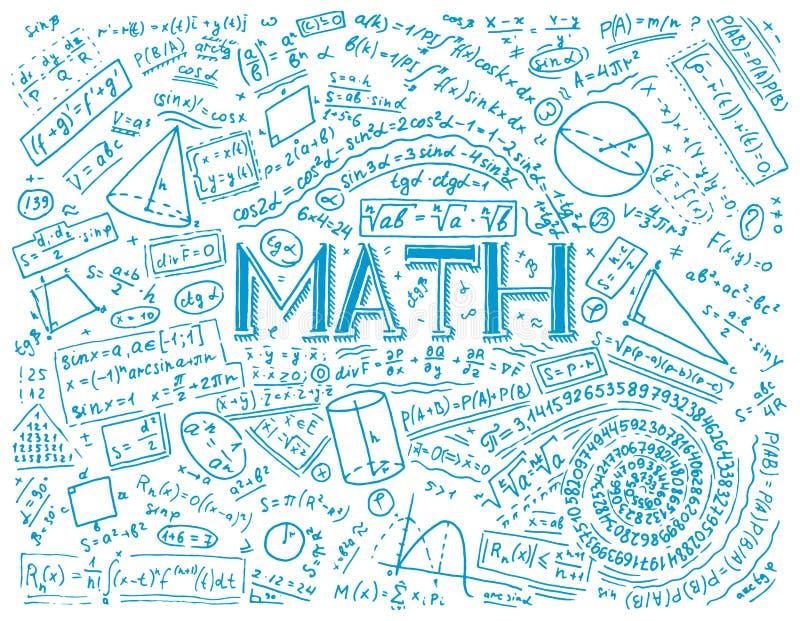 Wissenschaftliche Formeln und Berechnungen in der Physik und in der Mathematik auf whiteboard Die Lektion von Algebra und von Geo vektor abbildung