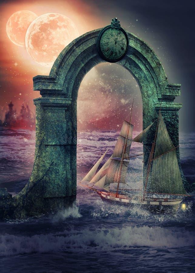 Wissenschaftliche Segelbootansätze an das mysteriöse Portal lizenzfreie abbildung