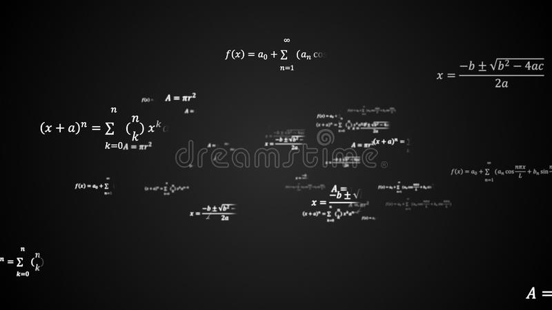 Wissenschaftlicher Hintergrund 3d mit den körperlichen und mathematischen Aufgabenlösungen, Formeln im Raum, 3d erzeugte Hintergr stock abbildung