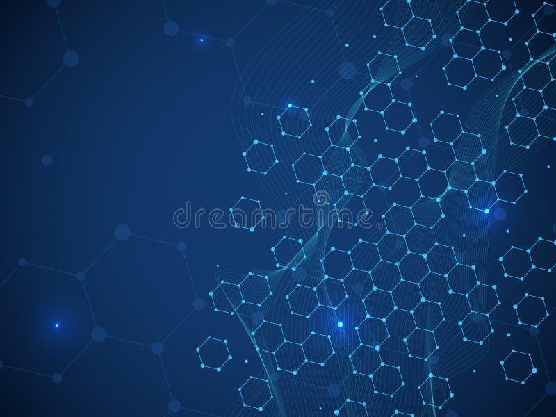Wissenschaftlicher Hintergrund Medizinische und chemische Technologie DNA-Struktur Genetische Gesundheit lizenzfreie abbildung
