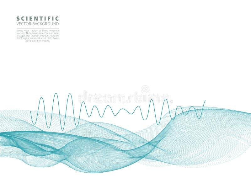 Wissenschaftlicher Hintergrund mit blauer Welle lizenzfreie abbildung
