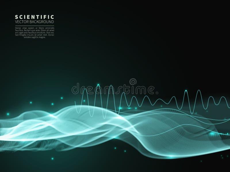 Wissenschaftlicher Hintergrund mit blauer Welle stock abbildung