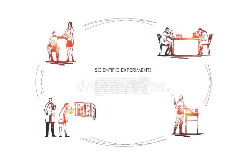 Wissenschaftliches Experiment - medizinische Arbeitskr?fte, die Experimente mit Blut und Tests im Laborvektor-Konzeptsatz machen vektor abbildung
