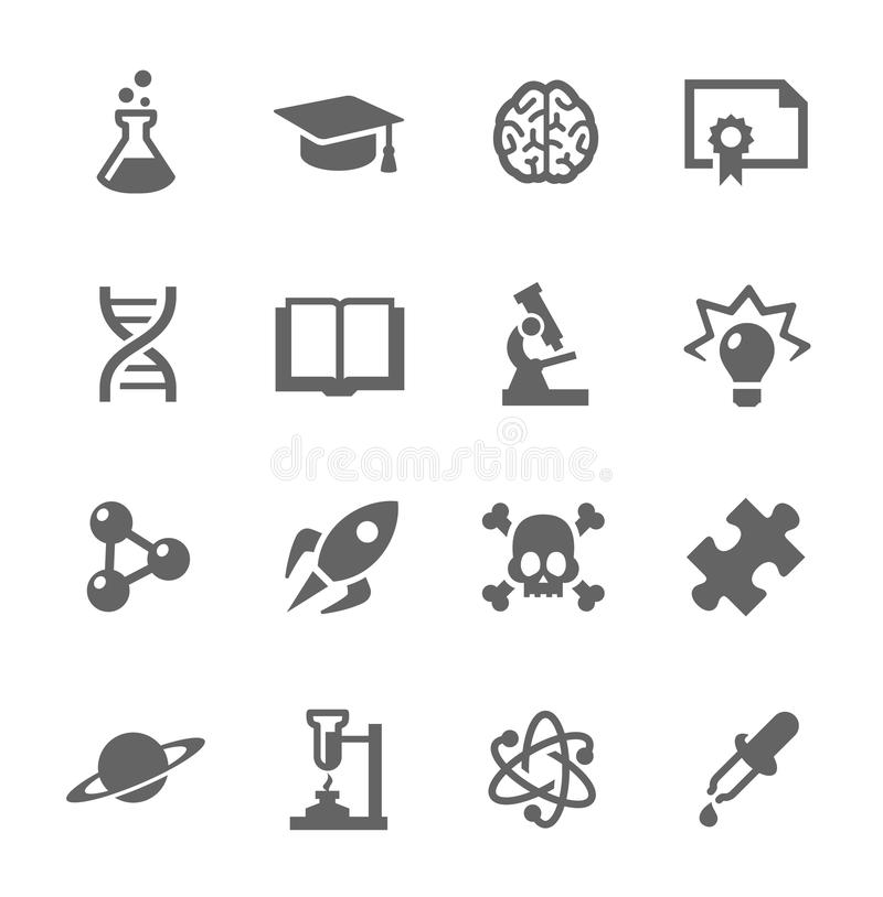 Wissenschafts-Ikonen lizenzfreie abbildung