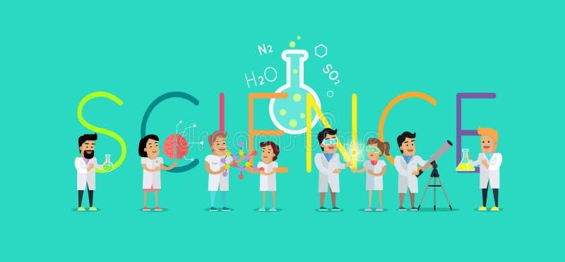 Wissenschafts-Konzept-Vektor-flache Design-Illustration stock abbildung