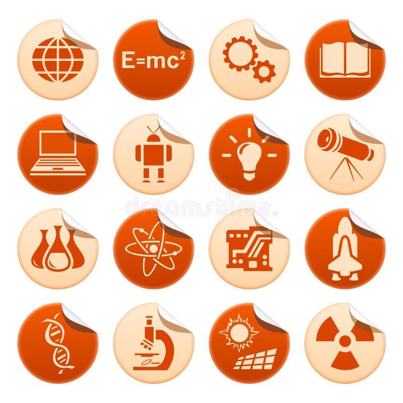 Wissenschafts- u. Technologieaufkleber stock abbildung