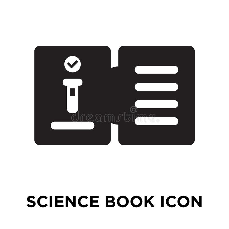 Wissenschaftsbuch-Ikonenvektor lokalisiert auf weißem Hintergrund, Logo conc vektor abbildung