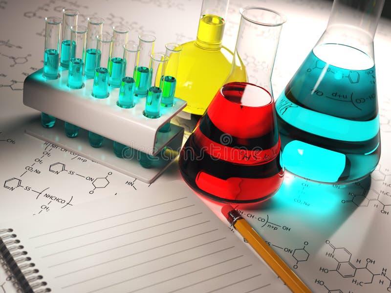Wissenschaftschemiekonzept Laborversuchrohre und -flaschen mit lizenzfreie abbildung