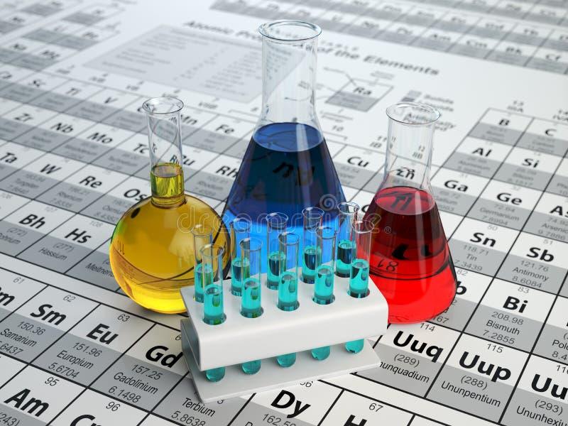 Wissenschaftschemiekonzept Laborversuchrohre und -flaschen mit vektor abbildung