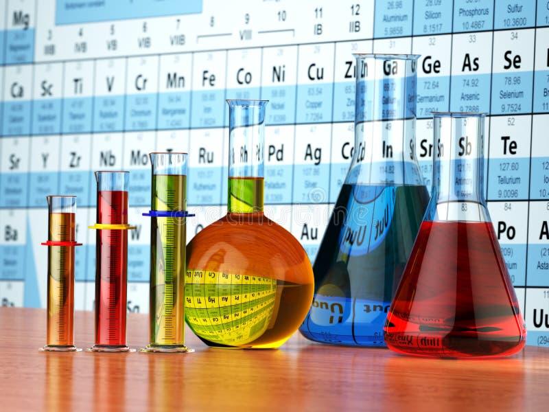 Wissenschaftschemiekonzept Laborversuchrohre und -flaschen mit stock abbildung