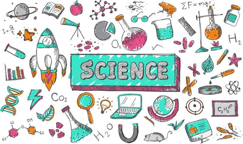 Wissenschaftschemiephysikbiologieastronomie-Bildungsthema lizenzfreie abbildung