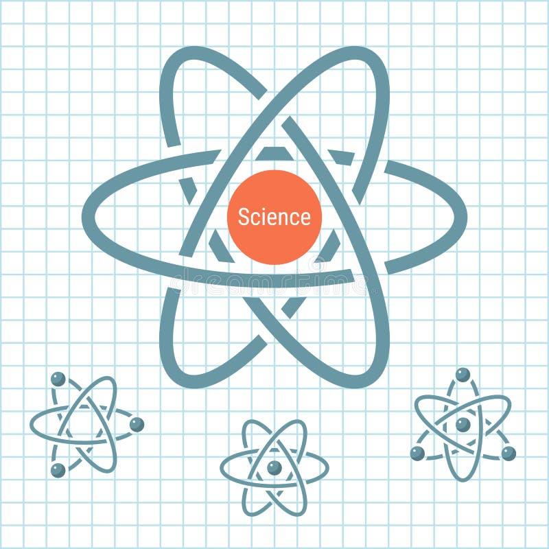 Wissenschaftselement mit drehenden Atomen auf Papier stockbilder