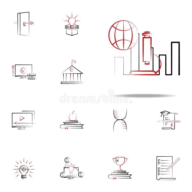 Wissenschaftsforschungsikone Bildungsikonen-Universalsatz für Netz und Mobile stock abbildung