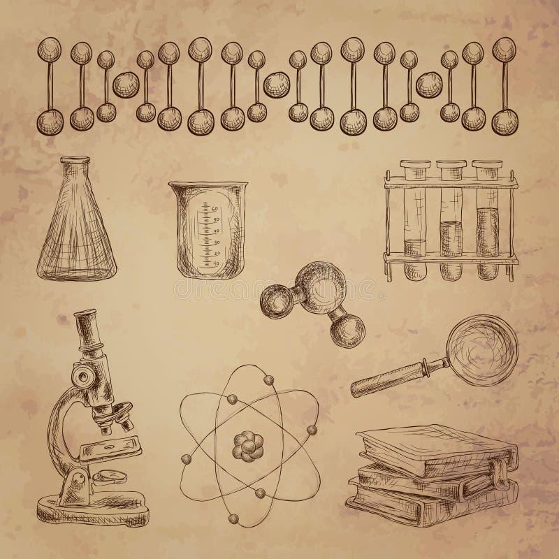 Wissenschaftsgekritzelikonen lizenzfreie abbildung
