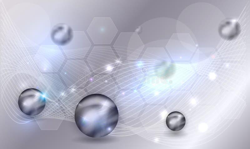 Wissenschaftshintergrund mit Bällen lizenzfreie abbildung
