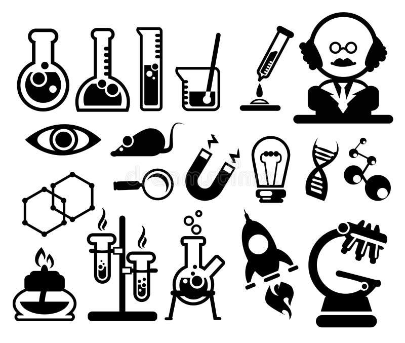 Wissenschaftsikonen eingestellt stock abbildung