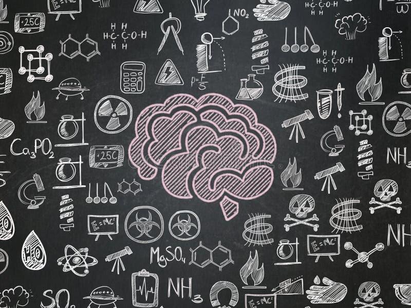 Wissenschaftskonzept: Gehirn auf Schulbehördehintergrund lizenzfreie abbildung