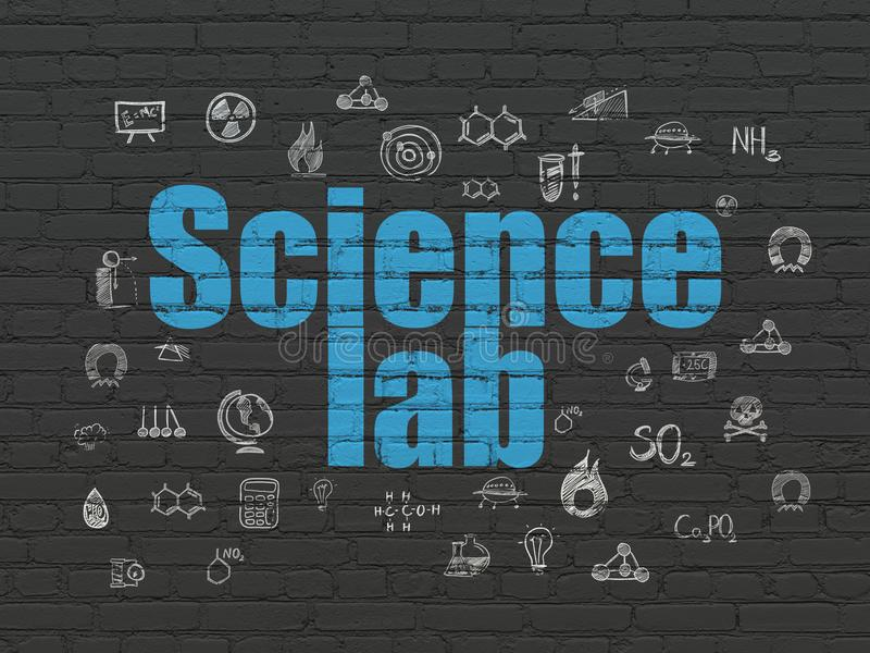 Wissenschaftskonzept: Wissenschafts-Labor auf Wandhintergrund stock abbildung