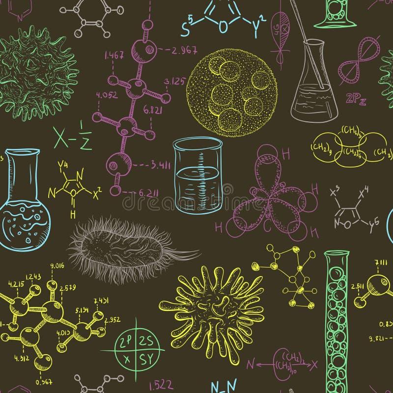 Wissenschaftslabornahtloses Muster mit Mikroben und Viren Weinlesedesignsatz stock abbildung